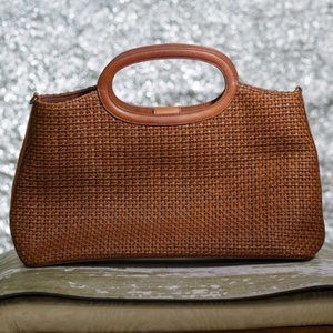 Fossil Leather Straw Basket Weave Bag